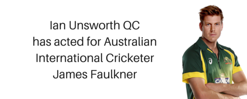 Ian Unsworth QC acts for Australian International Cricketer
